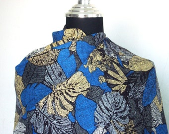 Summer Leaf-Dot screen technic-Light yellow blue grey leaf-Printed Rayon-by the yard-80s-Fabric for every purpose-2y60cm