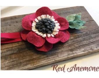 Red Anemone Felt Flower Baby Headband