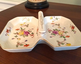 Vintage porcelain divided dish with handle and floral decoration made in Japan