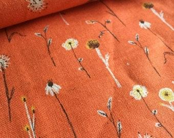 Wildflowers TERRACOTTA  Heather Ross Far Far Away for Kokka Fabric piece