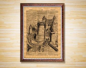 Castle print Stronghold poster Medieval decor