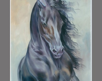 Black Friesian Horse painting A3 11.6×16.5 inch Art Print from the Original Oil Painting