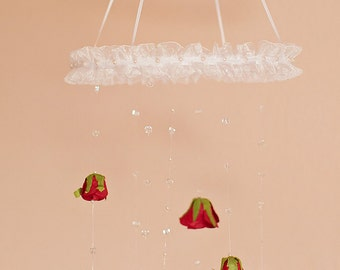 Baby Mobile, Rose Mobile with pearls and crystal beads