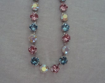 "Swarovski elements ""Cotton Candy"" Crystal Necklace earring set"