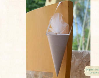 Printable Wedding Paper Cone, linen treat cone, candy cone, perfect for weddings and parties, Digital delivery, INSTANT DOWNLOAD