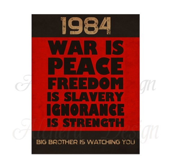 1984 George Orwell Quotes: 1984 George Orwell Book Quote Vintage Poster