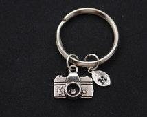 small camera keychain, initial keychain, silver camera charm keyring, photography keychain, photographer gift, keychain gift, camera pendant
