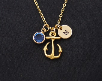 anchor necklace, gold filled, initial necklace, birthstone necklace, gold anchor charm on gold chain, best friend gift, nautical necklace