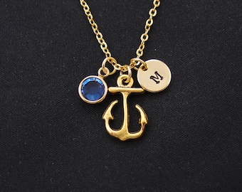 initial necklace, anchor necklace, birthstone necklace, gold anchor charm on gold plated chain, best friend gift, nautical necklace, beach