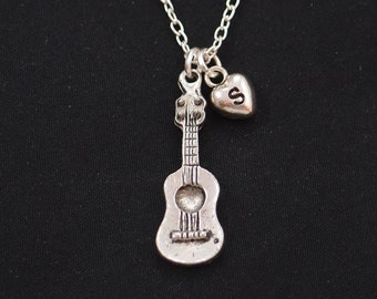 initial necklace, guitar necklace, music charm, musician gift, gifts for music lover,guitar player jewelry, guitar teachers gift, monogram