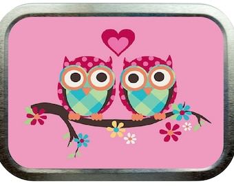 Pink love owls design 2oz gold tobacco tin,pill box,storage tin