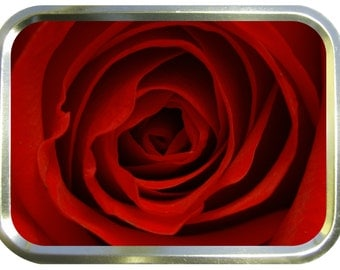 Red rose design 2oz gold tobacco tin,pill box,storage tin