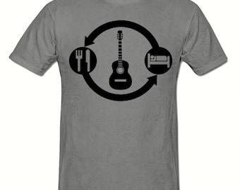 Eat Sleep Guitar Repeat t shirt,men's t shirt sizes small- 2xl, Guitar men's t shirt
