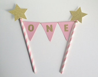 1st Birthday Bunting Cake Topper pink and gold