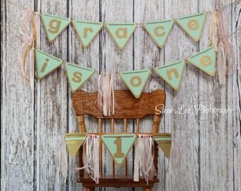 SET Pink Mint Gold First Birthday Banner, Little Girl 1st Birthday Banner, I Am One Birthday Banner, I'm One Banner, Birthday Pennant Banner