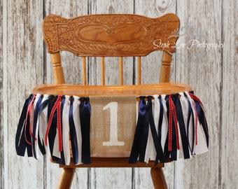 Nautical Birthday Burlap High Chair Banner, Nautical 1st First Birthday, Navy White Red High Chair Banner, Anchor's Away, Ahoy!