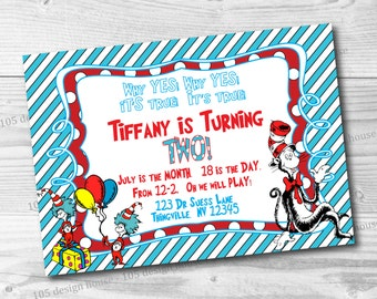 Dr Suess Invitation Birthday Printable - Dr Suess Party - Dr Suess Birthday - Cat in the hat party - Customize to any event!