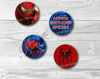 "INSTANT DOWNLOAD Spiderman Cupcake Toppers Printable - 2"" Cupcake Toppers - Spiderman Cupcake Toppers - Spider-Man cupcake toppers"
