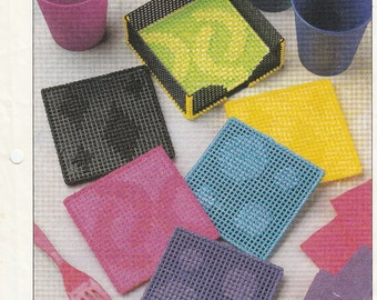 Bright Colorful Neon Coasters in Plastic Canvas