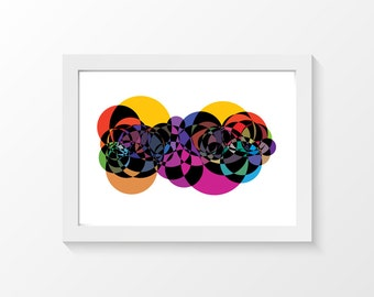 "Pop / Abstract circles interlacing print art wall art home decor downloadable art to print at home or at a print shop / A4 and 8.5"" x 11"""