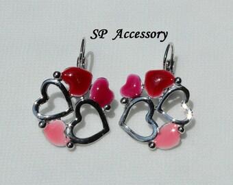 Pink Heart Earrings, Red Heart Earrings, stainless steel earrings, jewelry earrings