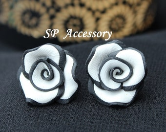 rose earrings, Black White Rose, pink rose clay, clay flower, jewelry earrings, flower earrings, clay earrings, classic rose
