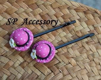 Lovely hair pin Hat, hair pin clay, jewelry hair pin
