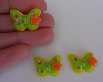 3 green yellow butterflies resin flatback decoden cabochons 20x15mm Kawaii embellishments scrapbook DIY phone hairbow centre clip pin