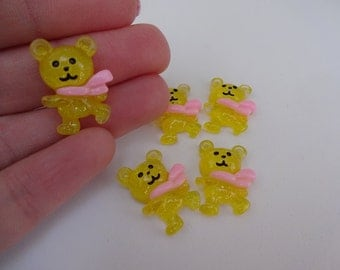 5 yellow sparkly bears in pink scarf resin flatback decoden cabochons 16x20mm Kawaii embellishments scrapbook DIY phone hairbow centre clip