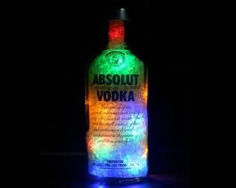 Absolut Vodka Bottle Lamp With Multicolour 'Diamond' Light Effect! Bottle Light, Gift Idea, Birthday Gifts, Vodka Gifts. DiamondLiquorLights