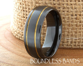 Ceramic Wedding Ring Mens Wedding Band Black Ceramic Band His Hers Classic Double Grooved Gold Inlay Anniversary Modern Laser Engraved 8mm