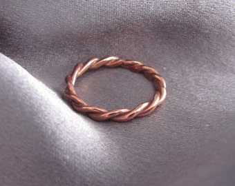 Copper Ring, Raw Copper Ring, Copper Stacking Ring, Stackable Ring, Pure Copper Ring, Twisted