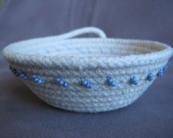 Rope Coil Bowl/ Small/ Beaded