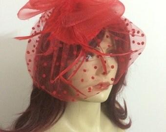 Red wedding hat,Mask party hat , princess hat,mini hat, black fascinator hat,