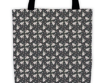 White Floral Night Tote
