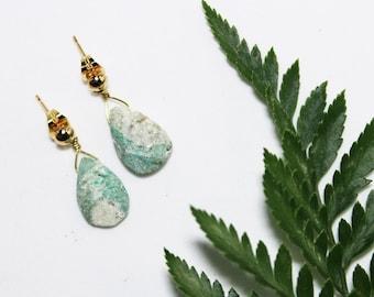 Fuschite Earrings | handmade earrings, green earrings, gemstone earrings, drop earrings, handmade earrings, made in canada