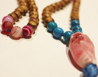 wooden Mala Necklace- Pink and Blue with tassel