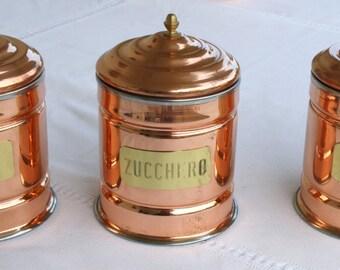 Copper coffee pots, salt and sugar