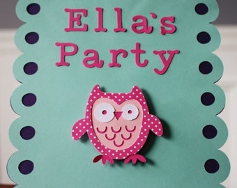 Owl Birthday Party Sign