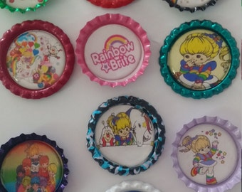 Rainbow Brite multi-color bottle cap magnets cupcake toppers