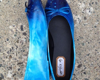Hand Painted Ballet Flats / Sky and Clouds Design