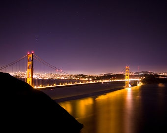 San Francisco Art, Golden Gate Bridge Photograph, Large Wall Art, Purple, J Raw Photography, SF, Night Photography - Clearly Golden Print