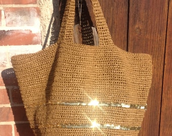 Tote-bag natural raffia and glitter on command