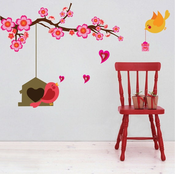 Wall Art Flowers And Birds : Bird branch decals flower art and wall