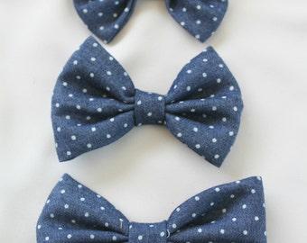 Polka Dot Denim Hair Clip Bow