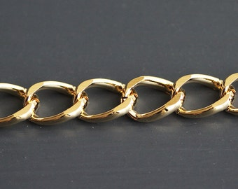 B5-60-G] Gold plated / 9.9 x 14mm / Curb Chain / 1 meter