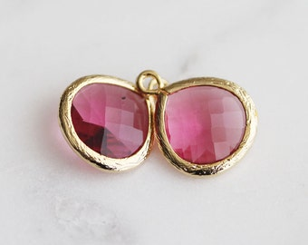 A2-002-G-RU] Ruby Red / 13mm / Gold plated / Glass Pendant / 2 pieces