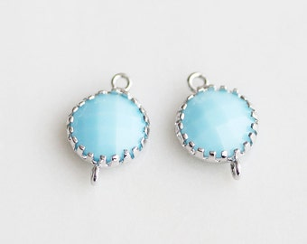 A2-112-R-MB] Milk Blue / 8mm / Rhodium plated / Round Pendant Connector /  2 pieces