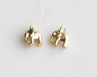 P1-228-S-MG] Elephant / 6 x 7.5mm / Matt Gold plated / Pendant / 2 piece(s)