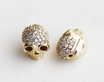 40% off ENTIRE STORE // T6-070-G] Cz Cubic Skull / 9 x 12mm / Gold plated / Metal Beads / 1 piece(s)